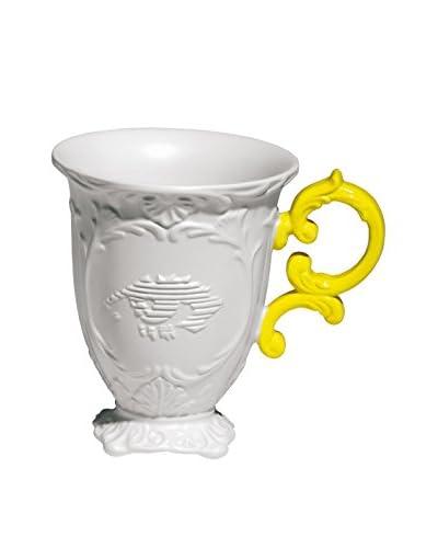 Seletti Porcelain I-Mug, White/Yellow, 6.304H x 5.122Dia.