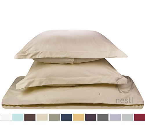 Duvet Cover for a Duvet Insert Comforter, Twin Single Size, Beige Cream Solid Color, 100% Double Brushed Microfiber Fabric 1800 Series Luxury Bedding Collection, Hypoallergenic, Most Cozy Comfortable Bedroom Set on Amazon, Basic 2-Piece Set Includes Silky Soft Duvet Cover with Pillow Shams, Supreme Quality Bed Linen Sale by Nestl Bedding (Single Duvet Insert compare prices)