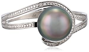 Sterling Silver 8-8.5mm Tahitian Cultured Black Pearl and Diamond Ring, Size 7
