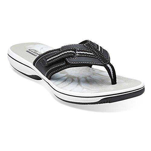 Clarks Women's Brinkley Jazz Thong Sandal Black 7 M US (Clarks Sea Breeze Flip Flops compare prices)