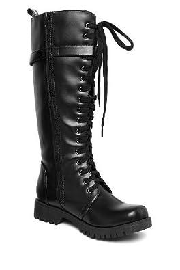 Amazon com volatile black strap combat boots shoes