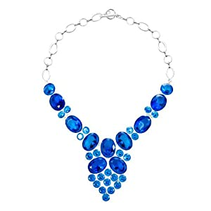 Pugster Chunky Bubble Aquamarine Blue Bib Statement Water Drop Necklace Fashion Jewelry For Women