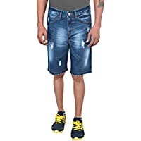 LOOKI Men's Cotton Shorts (STONE-159_38, Blue, 38)