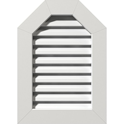 """Ekena Millwork GVPOT18X2401FUN 18 inch W x 24 inch H Rough Opening, Octagonal Top Gable Vent (23""""W x 29 inch H Frame Size): Unfinished, Functional, PVC Gable Vent with 1"""" x 4 inch Flat Trim Frame"""