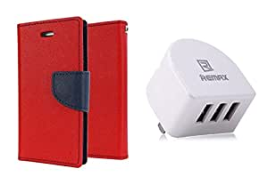 TOS Combo of Flip Cover With Remax 3.1 Amp Three Port Traval USB Wall Chargerfor Samsung Galaxy Z1 (Red)