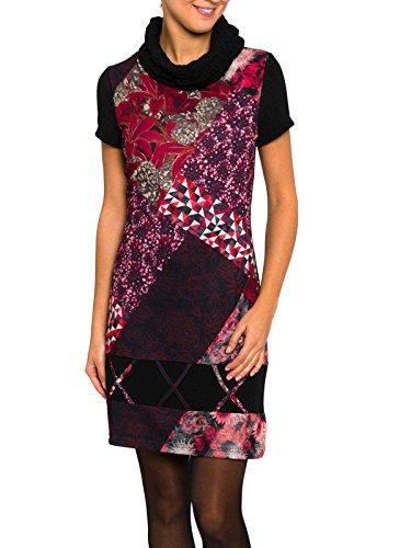 Smash Monaco Vestido a Manga Corta con Cuello Alto-A1683307, Vestaglia Donna, Vinaccia, XL