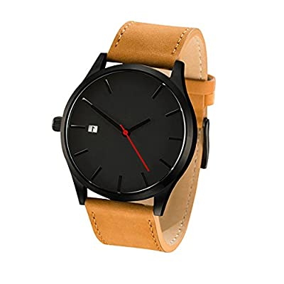 COCOTINA Men's Fashion Leather Band Wrist Watch Quartz Watch (Brown)