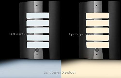 1er Set Edelstahl Wandleuchte Außenlampe Aussenleuchte mit Bewegungsmelder und LED COB 6Watt 580Lumen warmweiß kaltweiß E27 (warmweiß)