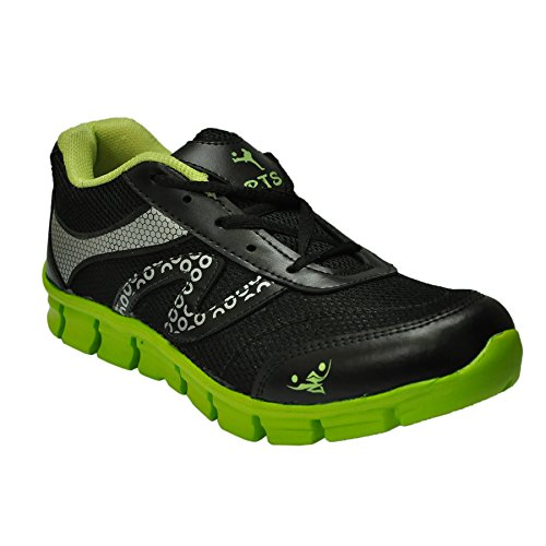 Rts Men's Black-Green Synthetic Sports Shoes 10 Uk (multicolor)