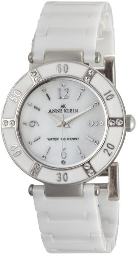 AK Anne Klein Women's 109417WTWT Swarovski Crystal Accented Silver-Tone White Ceramic Watch