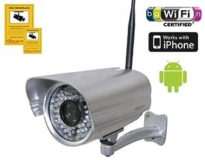 Foscam FI9805W Caméra réseau 1,3 mégapixels, lentille 4 mm, angle 70°, DDNS, MJPEG, 1280 x 960 pixels, Wifi N 300MBit/s, 36 LED infrarouges pour vision nocturne jusqu'à 30 m, pour Mac, Windows, Android et iPhone Argent