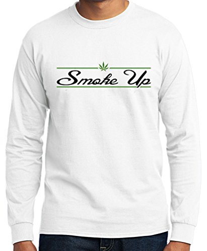 TshirtsXL Men's Long Sleeve Smoke Up Graphic Tee (Also in Big & Tall)