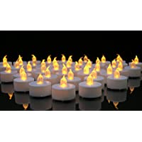 Flameless Candles -- LED White Tea Lights Battery Operated Candles -- Flameless Candle Set -- Tealights for Wedding Decorations, Parties, Home Decor, Centerpieces Safe and Worry Free -- Batteries Included