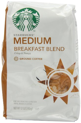 Starbucks Breakfast Blend Coffee, Ground, 12-Ounce Bags (Pack of 3) (Package may vary)