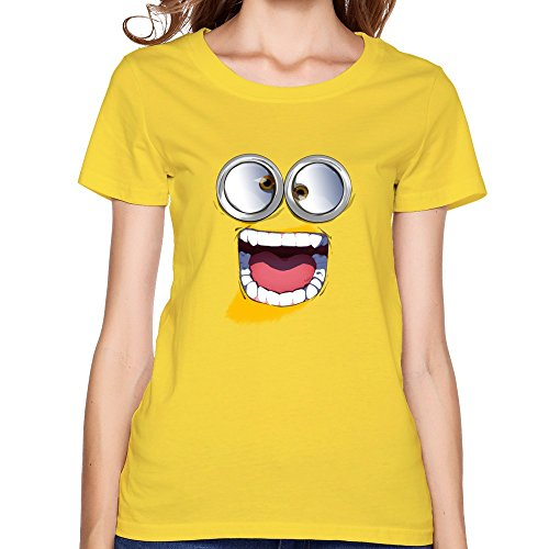 AM LIN Women'sT-shirt Minions Surprice Face Yellow
