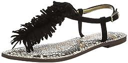 Sam Edelman Women\'s Gela Flat Sandal, Black, 9.5 M US