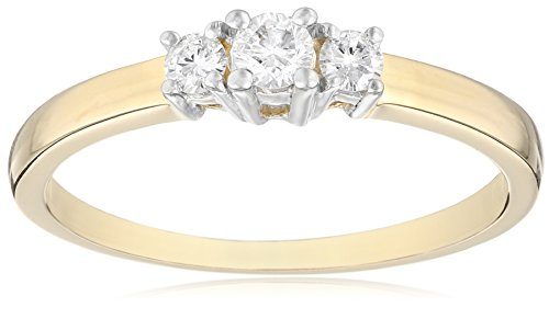 14k Yellow Gold Round 3-Stone Diamond Ring (1/4 cttw, I-J Color, I1-I2 Clarity), Size 8
