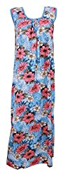 Odishabazaar Women's Nighty Hosiery Cotton Maxi Dress Blue Floral Print Night Wear L