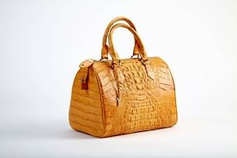 Crocodee Yellow Crocodile Leather Ginnie Satchel Handbag Purse