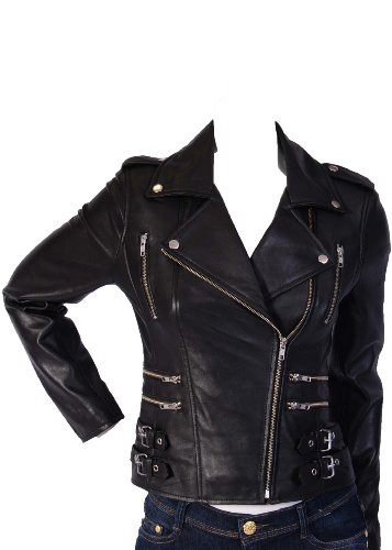 Ladies Biker Leather Jacket 7113 Black Womens Fitted Leather Jacket (12)