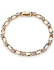 Wearyourfashion 18k Gold Plated Shining AAA Cubic Zircon Chain Bracelet For Women And Girls