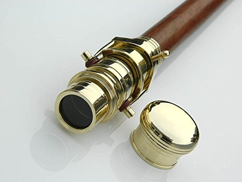 Wood Cane Telescope Walking Stick Hidden Spy Brass Telescope Handle