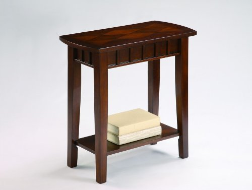 Dentil Cherry Finish Chairside Table By Crown Mark