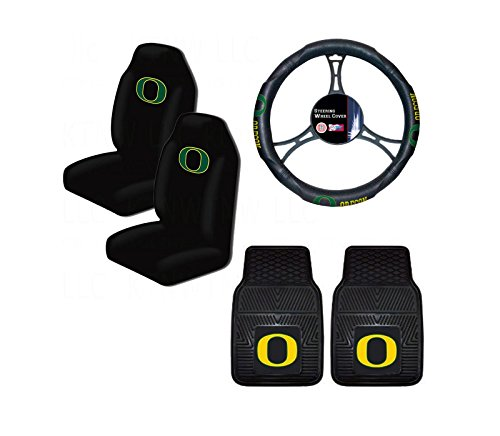 A set of 5 Piece Automotive Gift Set: 2 Front All Weather Floormats, 2 Highback Seat Covers, and 1 Wheel Cover - University of Oregon Ducks (Oregon Ducks Car Seat Covers compare prices)