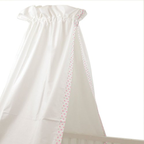 Sugarapple-Baby-Betthimmel-fr-Babybetten-oder-Kinderbetten-150-cm-Hhe-x-200-cm-Lnge-Babybett-Babyhimmel-Vorhang-aus-100-Baumwolle-Sterne-rosa