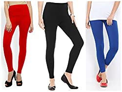 Yellow Tree Branded Black, Blue and Red Leggings (Combo Of 3)