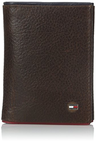 tommy-hilfiger-mens-leather-raymond-trifold-wallet-with-navy-and-red-trim-dark-brown