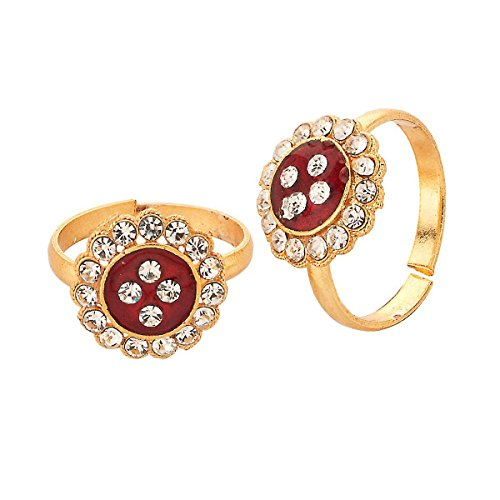 R S Jewels Gold Plated Multi Coloured Stone Toe Rings (multicolor)