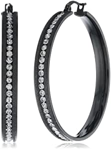 Stainless Steel Ion-Plated Black Simulated Diamonds with Glitter Edge Hoop Earrings by HMY Jewelry Inc.