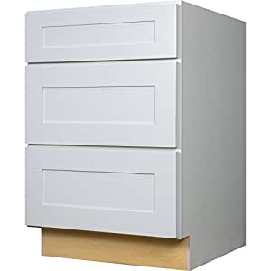 Everyday Cabinets 24 Inch Bathroom Vanity Drawer Base Cabinet In Shaker White With Soft Close