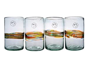 Amici Rainbow Set of 4 Hiball Glasses, 16-Ounce