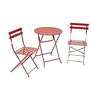 cosco 3 piece folding bistro set red