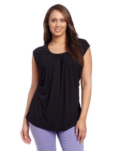 Jones New York Women&#039;s Plus-Size Extended Shoulder Pleat Neck Top, Jet Black, 2X at Amazon.com
