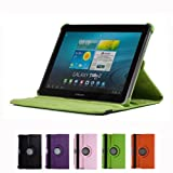 GMYLE(R) Green 360 Degree Rotating PU Leather Folio Stand Case Cover For Tablet Galaxy Tab 1 2 10.1 P7510 P5100...