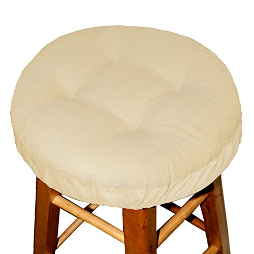 Padded Bar Stool Cover - Pinwale Corduroy Beige - Size Standard - Latex Foam Fill Barstool Cushion with Adjustable Drawstring Yoke - Made in USA (Bar Stool Covers Round Cushion compare prices)