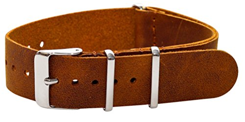 18Mm Premium Nato Ss Leather Aged Brown Replacement Watch Strap Band