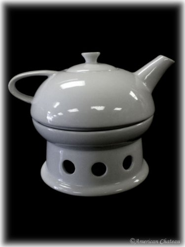 New SONOMA White INDIVIDUAL Porcelain Teapot for one with Candle Warmer Base