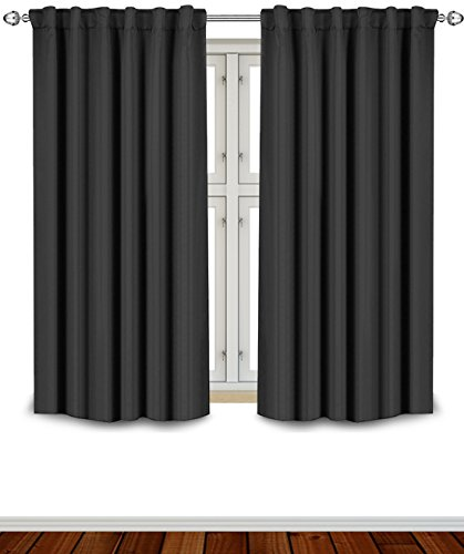 Blackout Room Darkening Curtains Window Panel Drapes - Black Color 2 Panel Set, 52 inch wide by 63 inch long each panel- 7 Back Loops per Panel, 2 Tie Back Included - by Utopia Bedding (Energy Saving Curtains compare prices)