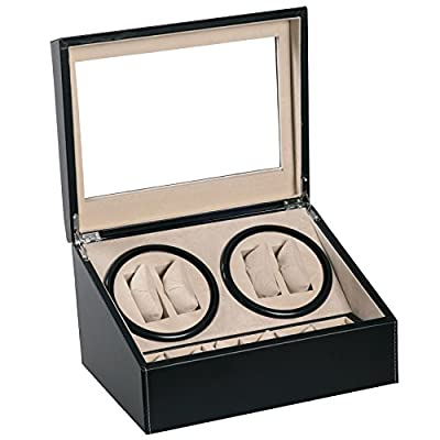 4+6 Black Leather Quad Watch Winder Automatic Rotation Storage Display Jewelry Box Case Organizers