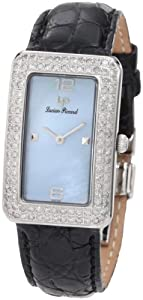Lucien Piccard Women's 27062BU Le Tank Diamond Accented Blue Mother-Of-Pearl Black Crocodile Watch