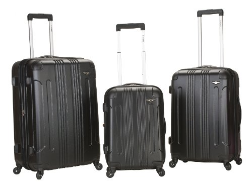 Rockland Luggage 3 Piece Abs Upright Luggage Set, Black, Medium best deal