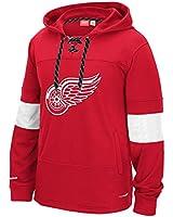 "Detroit Red Wings Reebok NHL ""Team Face Off"" Skate Lace Hooded Sweatshirt"