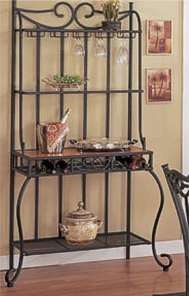 Metal & Wood Baker's Kitchen Rack w/Wine Storage
