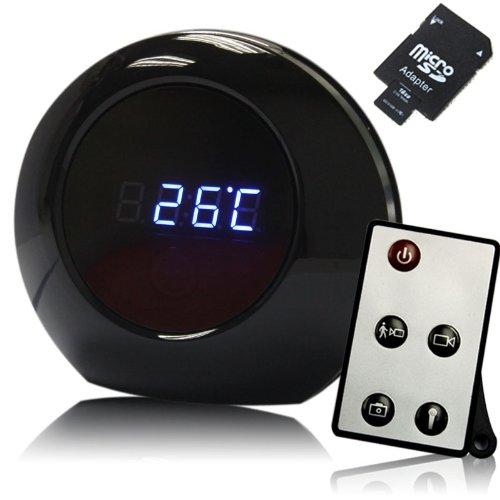 Full HD Spy Cam Wecker Clock Uhr Spion Mini Kamera HD DVR Bewegungsmelder mit Fernbedienung, 16 GB SD Karte auch inklusive