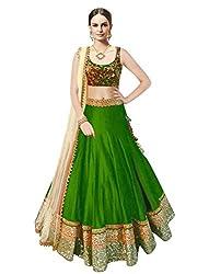Sanjana Design Royal Green Cotton Designer Bollywood Style Lehenga /Partywear Lehenga/Heavy embroidered lehenga (VG149_Free Size_Green)