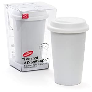 DCI I Am Not a Paper Cup 12-Ounce Porcelain Travel Cup with Lid